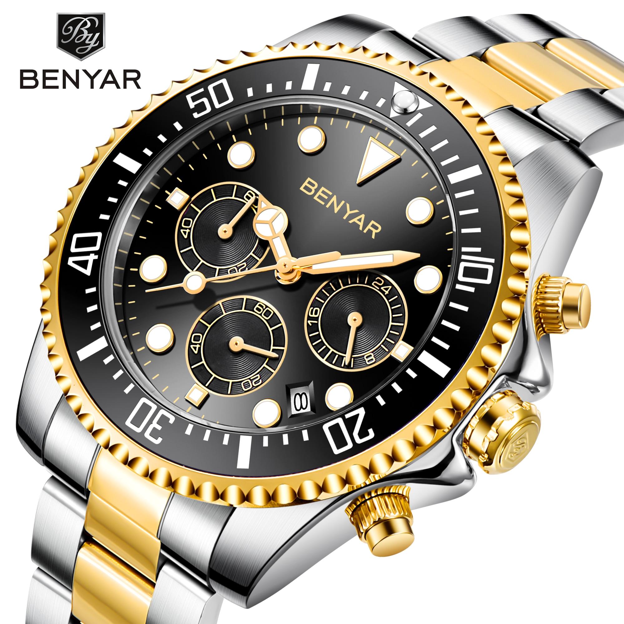 BENYAR-ساعة كوارتز فاخرة من الفولاذ المقاوم للصدأ للرجال ، كرونوغراف رياضي ، ماركة فاخرة ، 2020