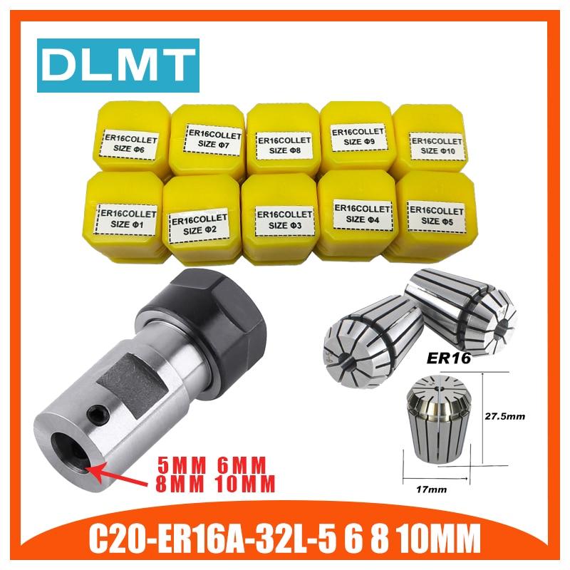 ER16Spring Collet 10 Uds C20 ER16 eje de Motor de portabrocas varilla de extensión husillo pinza torno herramientas soporte interior 5MM 6MM 8MM 10MM