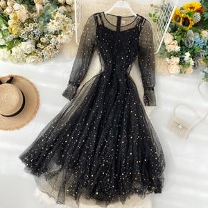 2020 Spring Autumn Korea Fashion Women Elegant Solid Color  Sequined  Empire Long Dress Party Dress Casual Dress A610