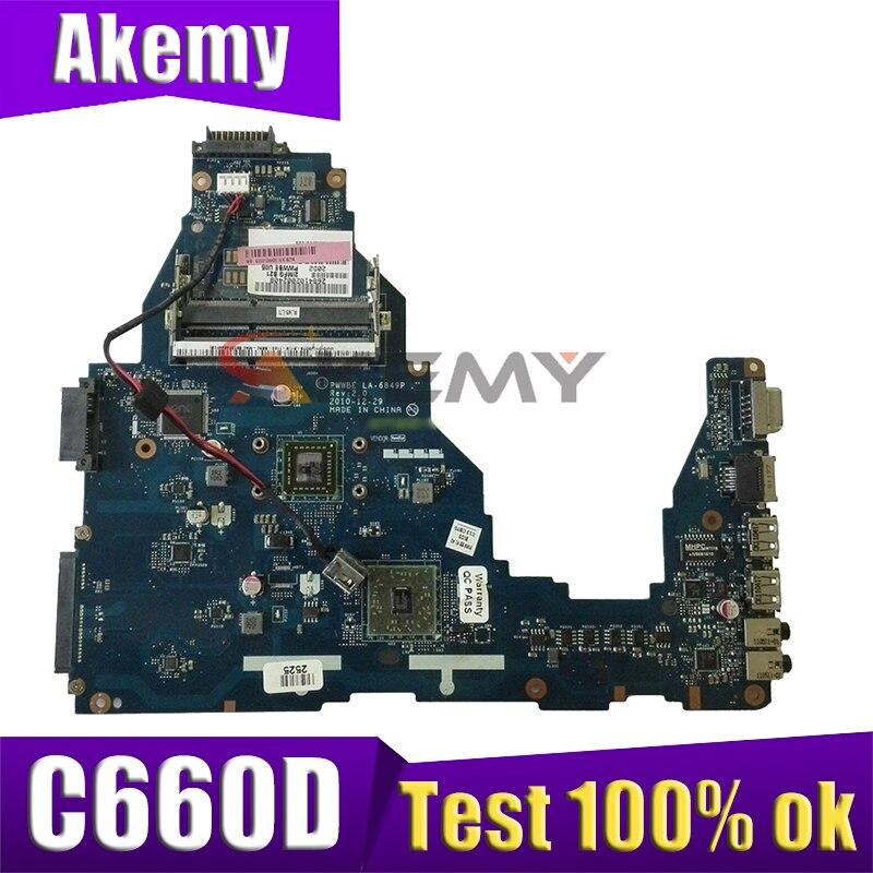 Akemy K000128540 PWWBE LA-6849P اللوحة الرئيسية ل توشيبا الأقمار الصناعية C660D اللوحة المحمول DDR3 اختبار كامل