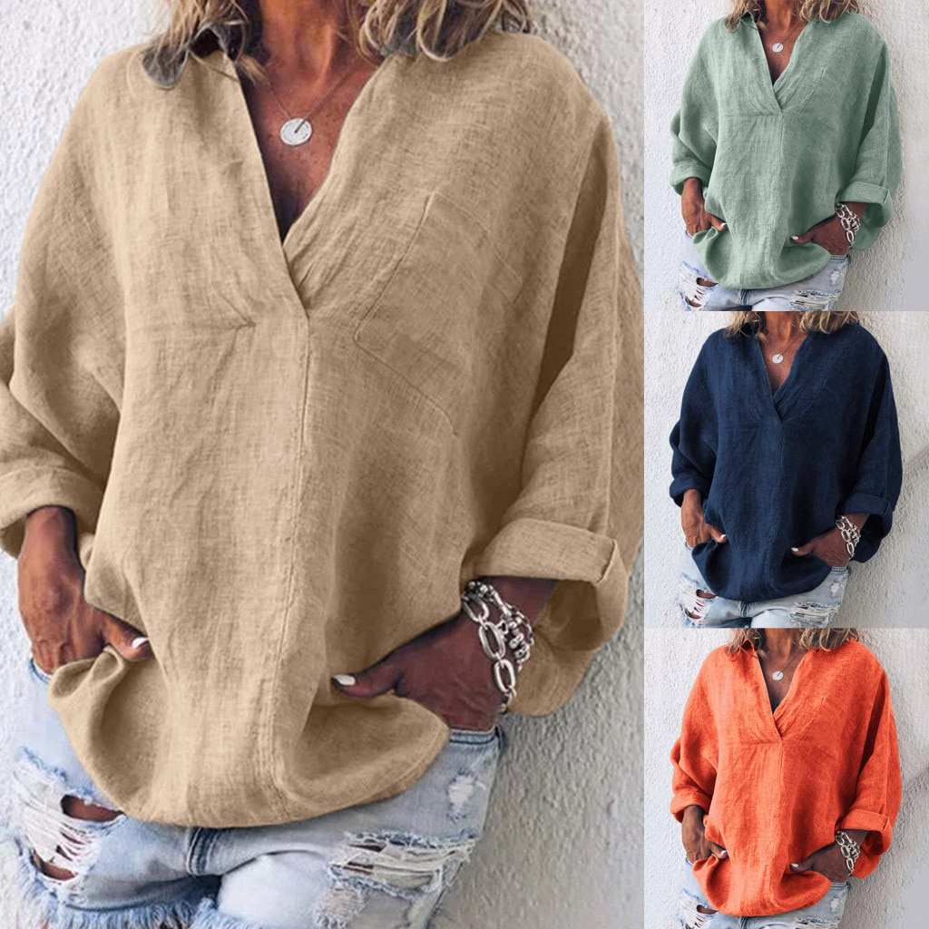 Boho Womens Blouses Long Sleeve Cotton Linen Kaftan Ladies Baggy Blouse Tee Shirt Tops Shirt Mujer 2