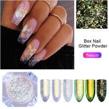 1 boîte caméléon néon ongles paillettes miroir irisé ongles paillettes AB couleur Chrome Art des ongles Pigment poudre vernis