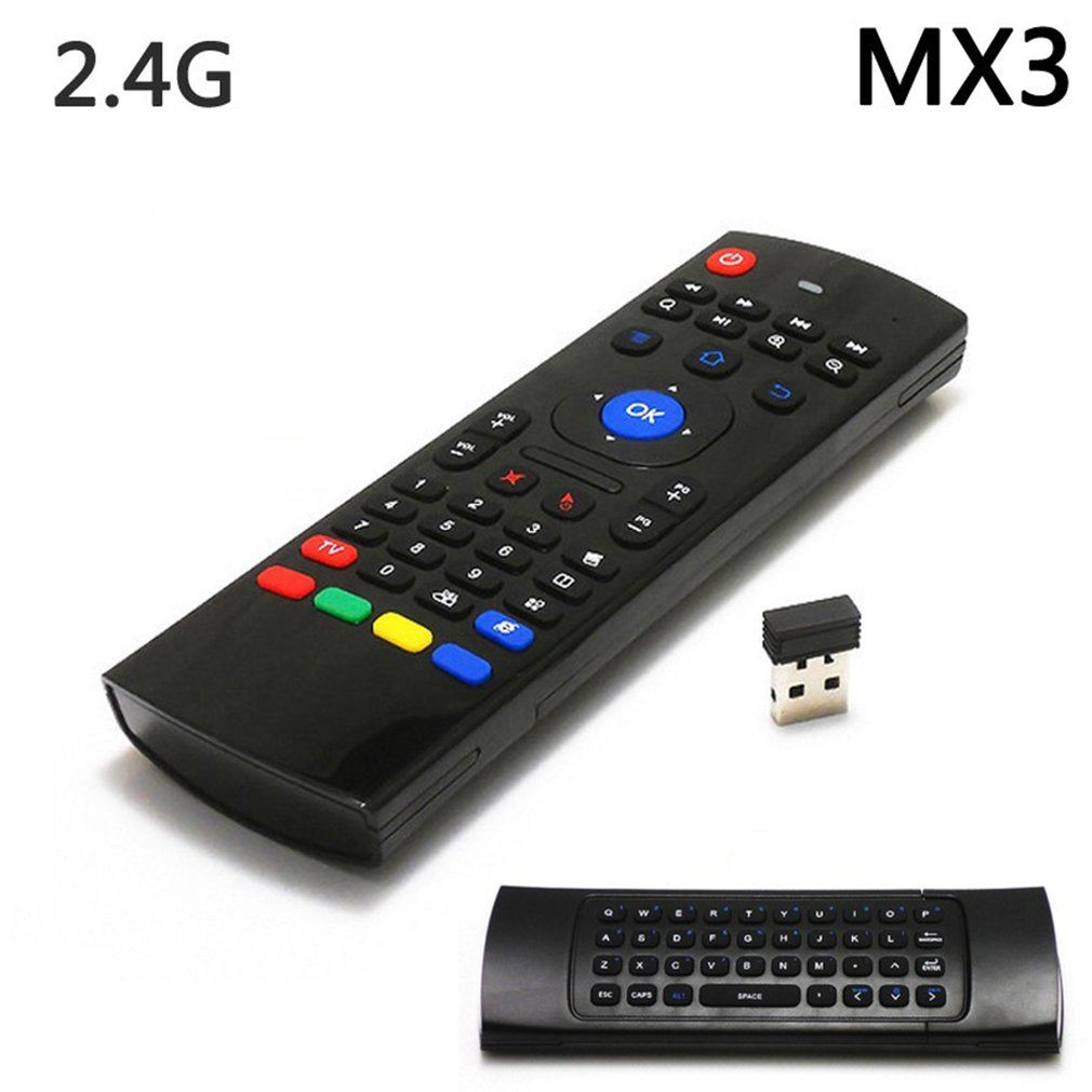 MX3 2.4G Wireless Fly Air Mouse Keyboard English 44 IR Learning Voice for Android Smart TV Box 30m R