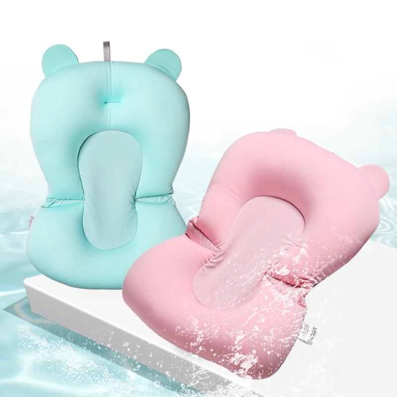 Baby Shower Bath Tub Pad Non-Slip Bathtub Seat Support Mat Newborn Safety Security Bath Support Cushion Foldable Soft Pillow