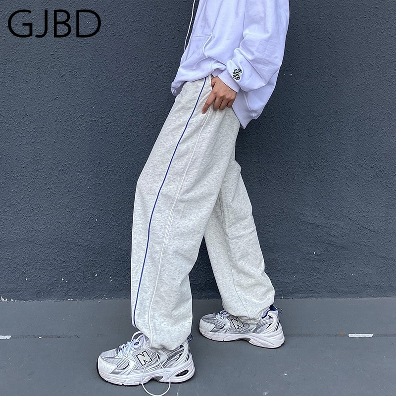 Women's Sports Pants 2021 Spring New Y2K Streetwear Fashion High Waist Straight Pants Casual Boyfrie