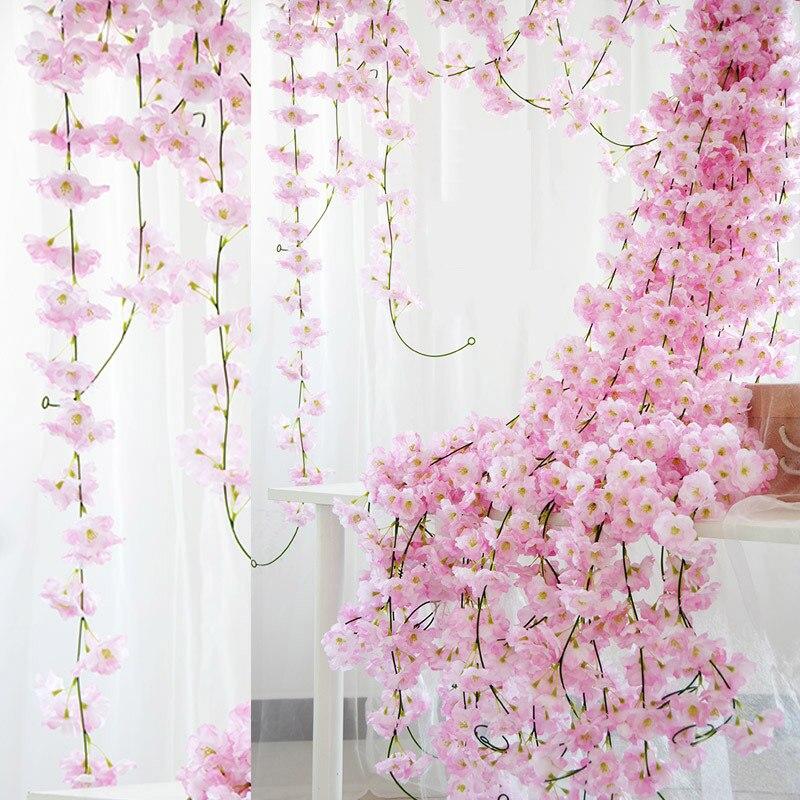Guirnalda de flores de cerezo de 230cm, flores artificiales de flores de Sakura, guirnalda de mimbre para boda, arco, fiesta, decoración para colgar en la pared del hogar, hiedra