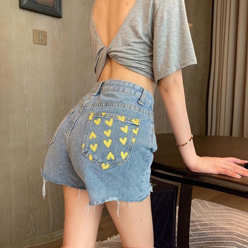 Summer Women Korean Fashion Red Love Printed Jeans Shorts High Waist Straight Denim Shorts Yellow Heart Sweet Thin Streetwear