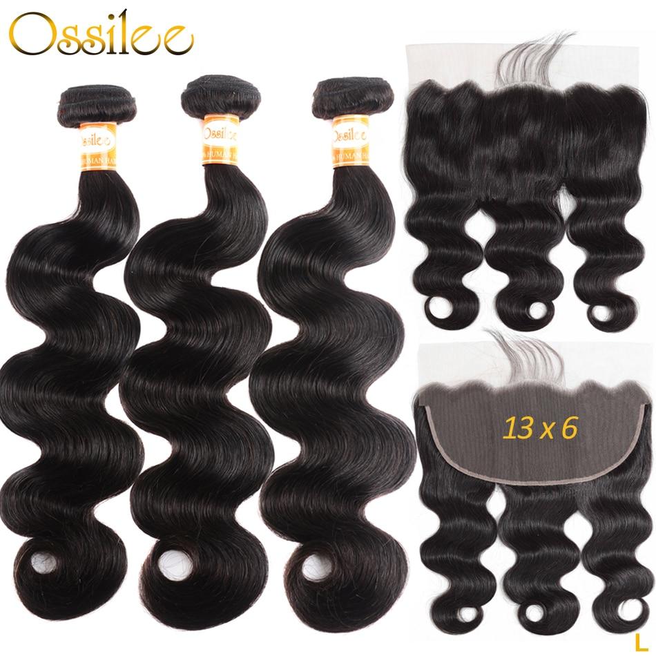 Ossilee 13 × 6 レースフロントフロントバンドル実体波人間の髪のバンドルブラジルの Remy バンドルと閉鎖低比