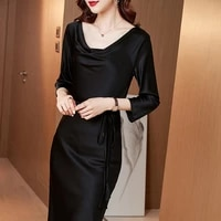 long mulberry silk dress womens 2021 new spring fashion round neck solid color seven sleeve silk skirt