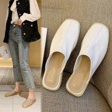 2020 été mocassins en cuir synthétique polyuréthane femme pantoufles sans lacet demi pantoufles chaussures mocassins Mules tongs marche chaussures 2he4