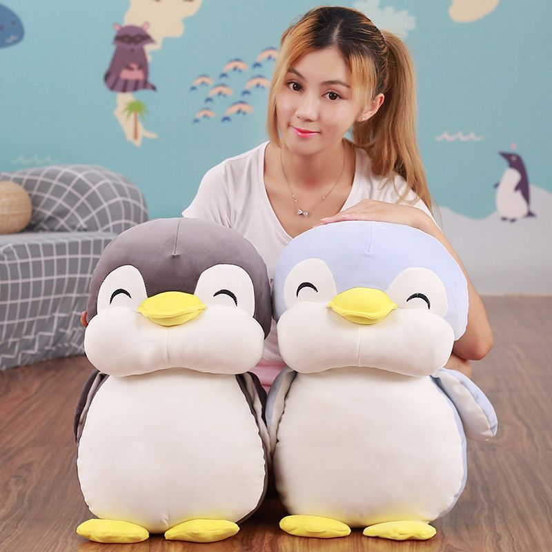cute cartoon penguin plush toy gray or blue penguin soft cotton doll throw pillow birthday gift w1777