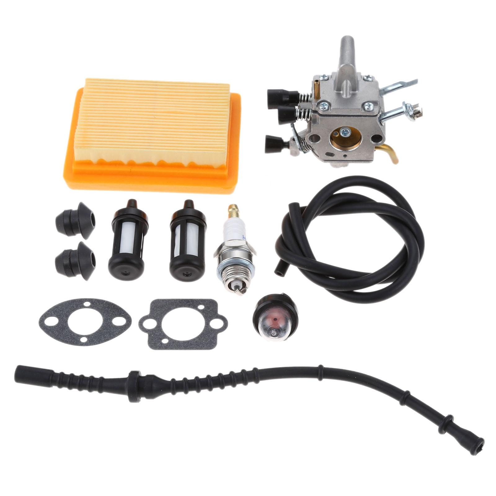 Carburador DRELD + filtro de aire Primer bombilla Kit de recarga de combustible apto para STIHL FS120 FS200 FS250 FS300 FS350 FR350 FR450 recortador de cuerdas