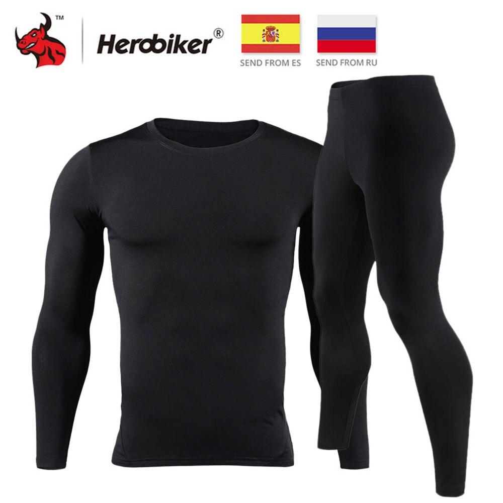HEROBIKER, мужское термобелье с флисовой подкладкой, комплект для катания на мотоцикле, лыжный базовый слой, зимние теплые подштанники, рубашки ...