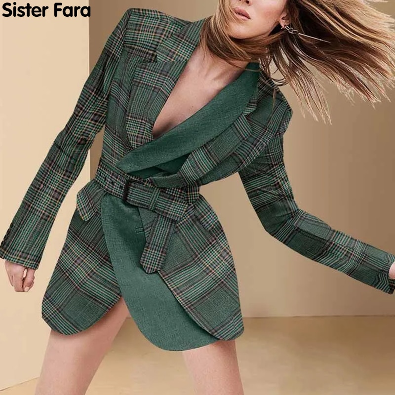 الأخت فارا موضة جديدة منقوشة طويلة السترة المرأة جاكت للربيع معطف الزنانير المرقعة فضفاض بليزر السيدات الخريف سترة غير رسمية