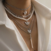 2021New 5 piece Set Of imitation Pearl Chain Pendant Angel Butterfly Sword Multilayer Necklace Punk
