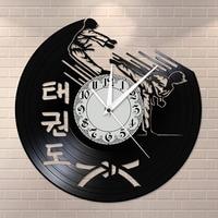 Korean Martial Art Taekwondo Mute Clock Taekwondo Museum Training Center Fighting Wall Art Retro Silent Vinyl Record Wall Clock