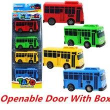 Openable Door With Box Korean Cartoon TAYO the Little Bus Araba Oyuncak Buses Model Pull Back Toy Car Kid Birthday Gift 4Pcs/Set