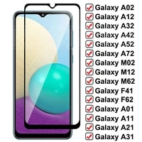 9D Full Protective Glass For Samsung Galaxy A02 A12 A32 A42 A52 A72 F41 F62 Screen Protector M02 M12 M62 A01 A11 A51 A71 Glass
