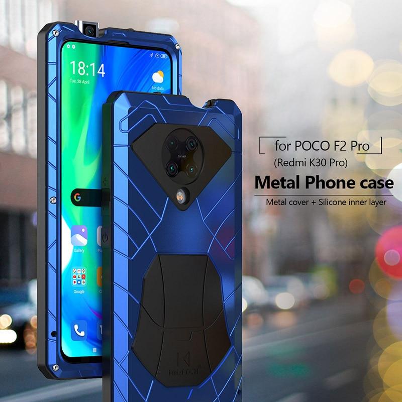 Voor Xiaomi Poco F2 Pro Redmi K30 Pro Poco X3 Nfc Pro Case Hard Aluminium Metal Zware Bescherming Cover met Gehard Glas