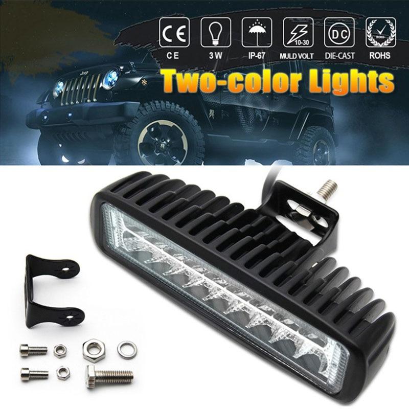 1/2 Pcs 6 Inch LED Work Light Bar Spotlight Driving Fog Lamp Dual Color White & Amber One-line Work Light Combo Beam Light