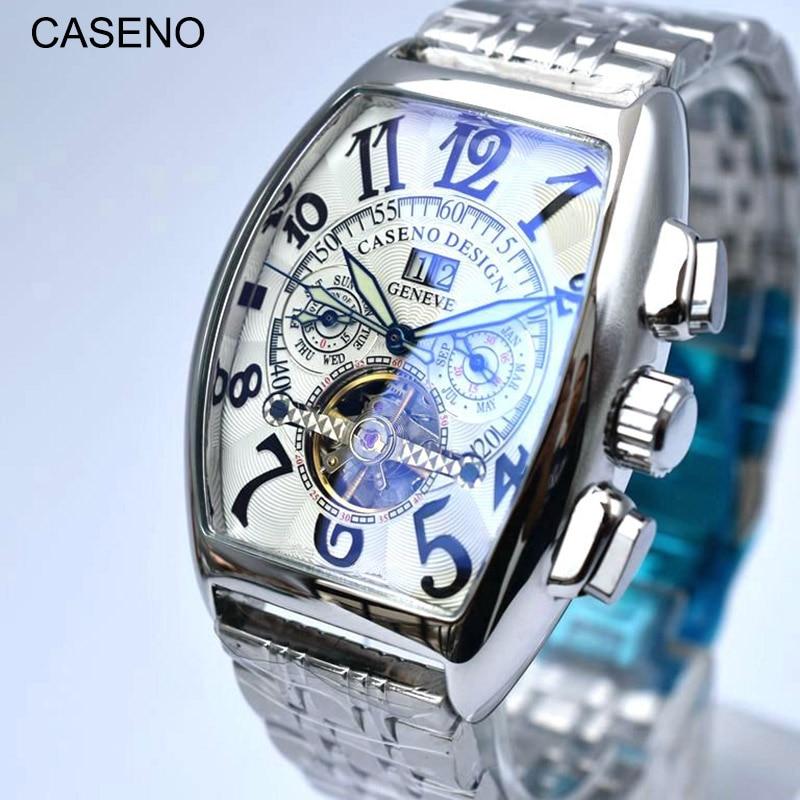 CASENO-ساعة ميكانيكية أوتوماتيكية للرجال ، توربيون ، هيكلية ، عسكرية ، رياضية ، عسكرية ، ستانلس ستيل