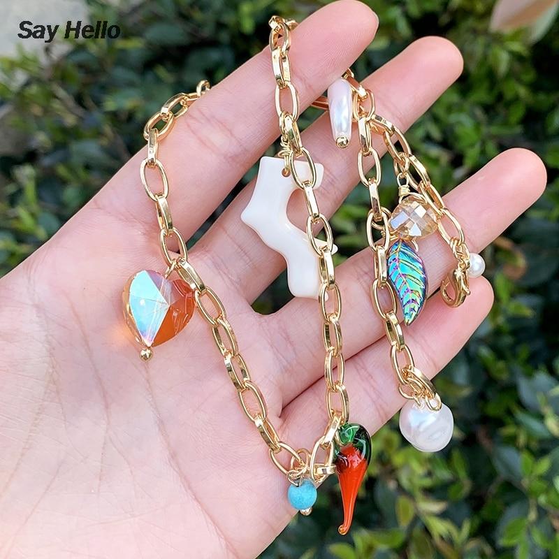 SAY HELLO Metal Color oro imitación de resina perla Irregular COLLAR COLGANTE elegante acrílico Coral cristal corazón gargantilla regalo K0775