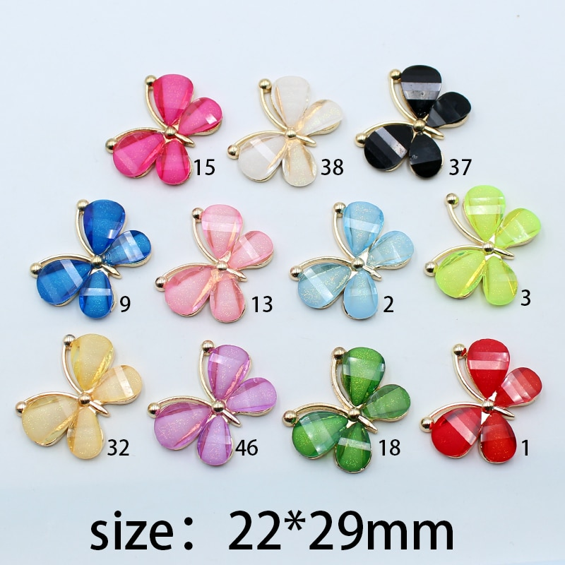 New 10pcs 22*29mm cute colorful butterfly alloy glass invitation card booklet costume decoration buc