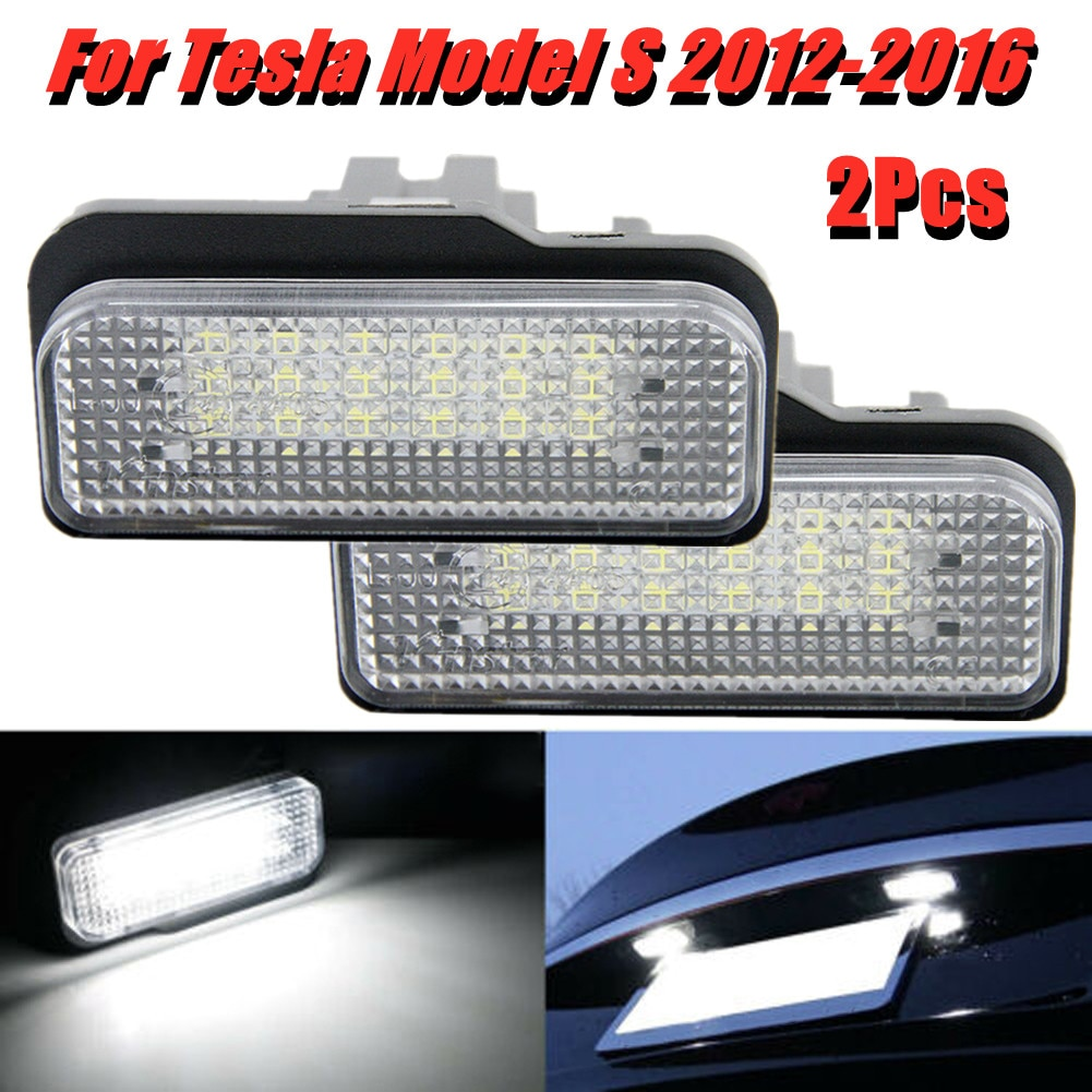 2PCS White LED License Plate Lights Lamp For Tesla Model S 2012-2016 Car Rear Lights Taillights