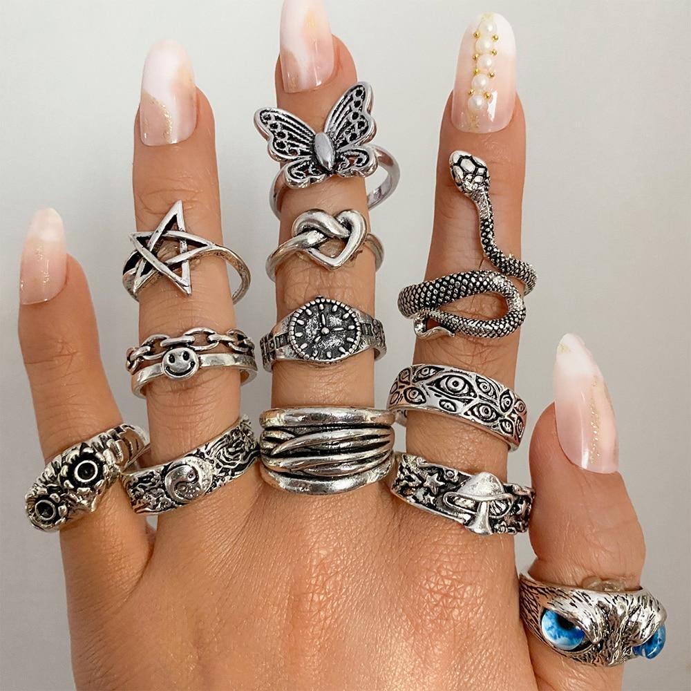 FAMSHIN Ретро панк бабочка змея кольцо для мужчин женщин индивидуальные геометрические антикварные серебряные цветные модные открытые регули...