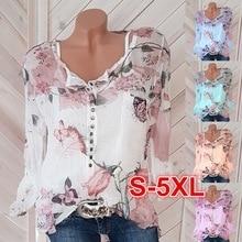Women's Fashion Long Sleeve Printed Flower Shirt V-neck Button Tops Chiffon Blouse OM8658