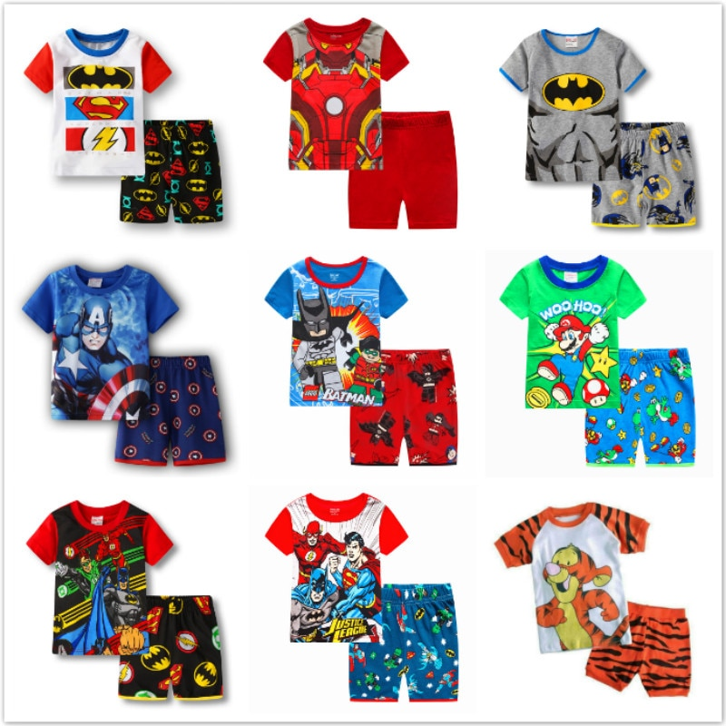 Детская одежда для мальчиков и девочек детские пижамы летняя хлопковая футболка с короткими рукавами короткие пижамы, пижамный комплект с рисунком Бэтмена, детская одежда для сна