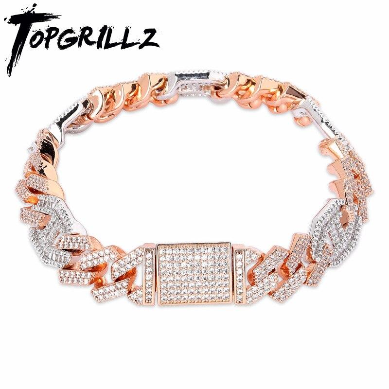 TOPGRILLZ, lo más nuevo, Baguette con microincrustaciones, pulsera cubana de zirconia cúbica, joyería ostentosa de Hip hop, dorada, plateada, cadena cubana CZ de 14mm