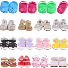 Doll Shoes Summer Plastic PU Hole Beach Sandals Fit 18 Inch Girl& 43 Cm Reborn Baby&43 Cm Nenuco Dol