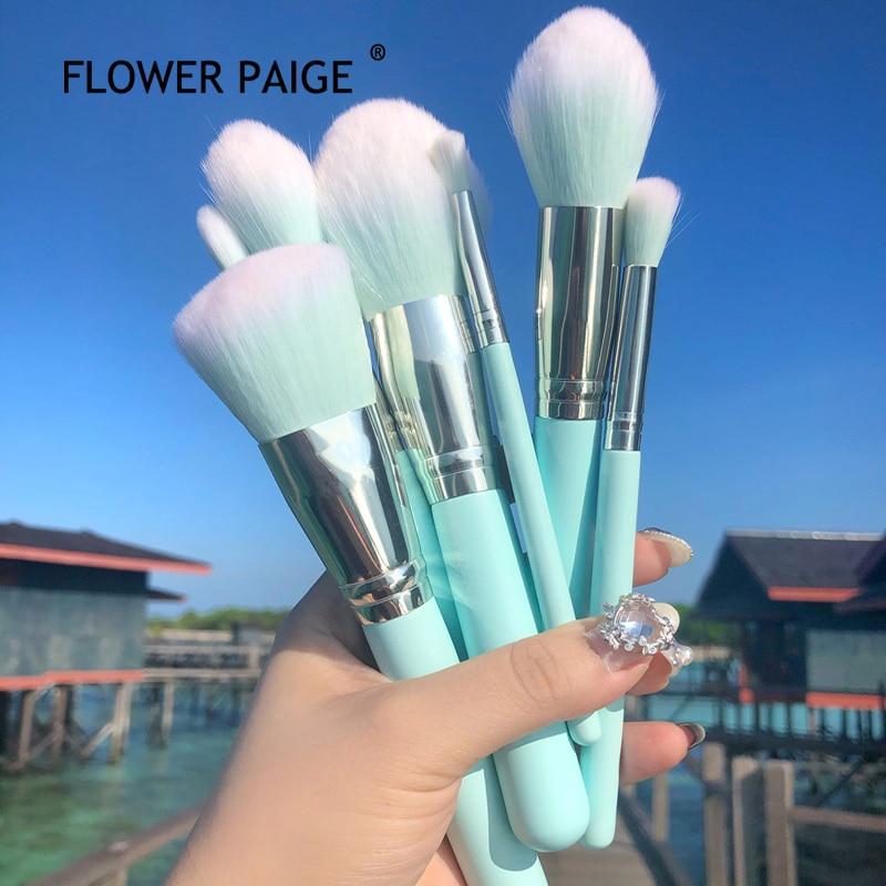 FLOWER PAIGE 12Pcs Profession Makeup Brush baby blue Eye Shadow Brush Repair Brush Loose Powder Brus