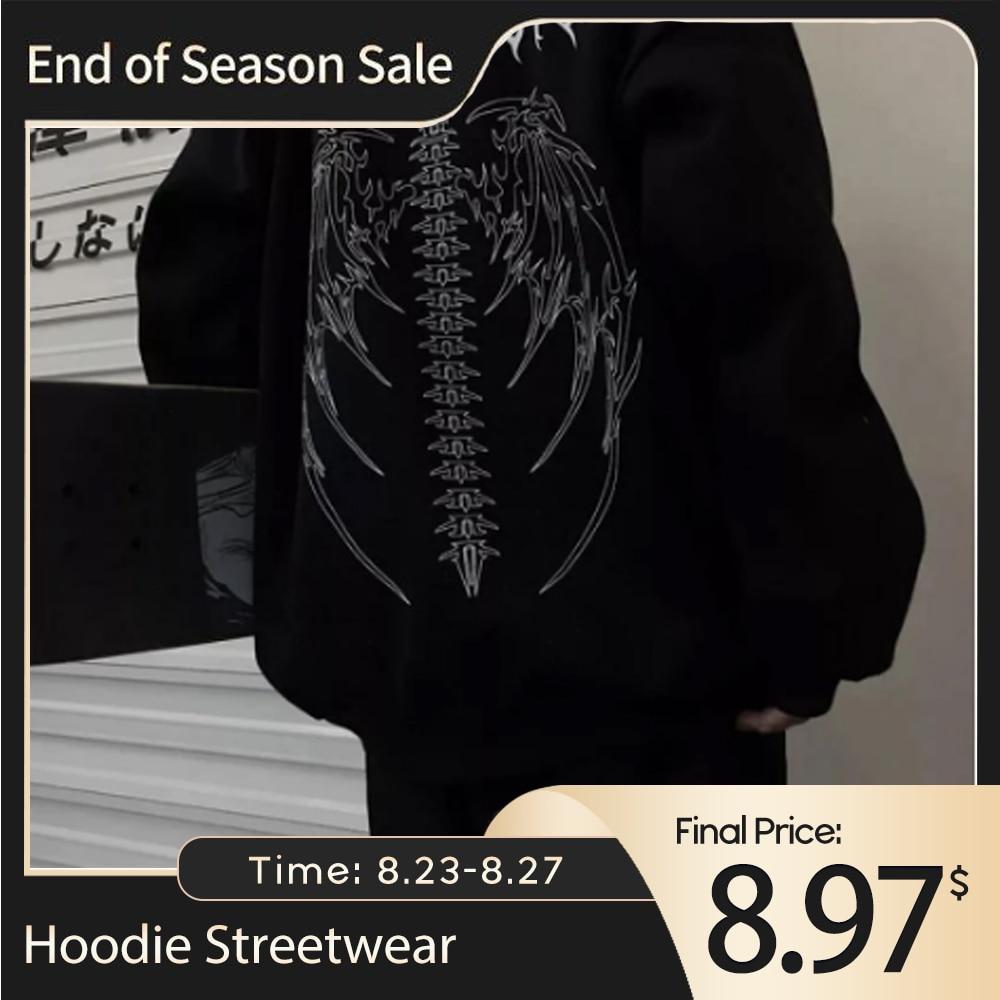 Streetwear Harajuku Hoodie Y2K Tops Girls Retro Gothic Oversized Hood Punk Anime Print Clothes Hip-Hop High Street Sweatshirts нож buck hood punk микарта