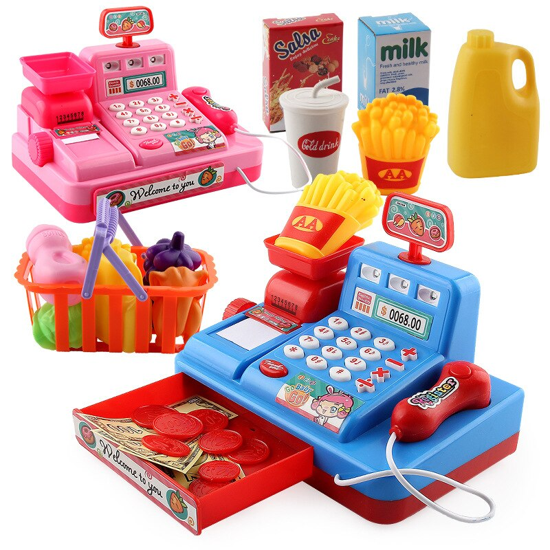 Intelligence For Children Multifunctional Simulation Supermarket Cash Register Toy Get Married Music Cashier With Lights connect the pos machine before the use of cash used in supermarket restaurant cashier ek330