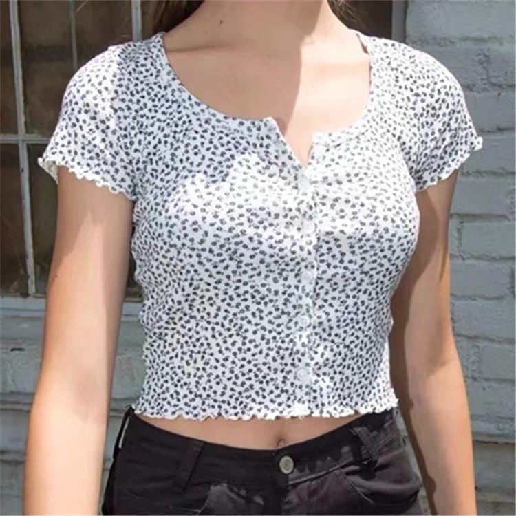 ¡Novedad! Cárdigan BM pequeño de hilo con Flores rotas, camiseta de manga corta con una hilera de botones para fiesta y Mujer con hongos negros.