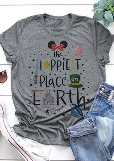 Camiseta Punk para mujer Camisetas de talla grande para mujer nuevo el lugar más feliz de la tierra camisetas para mujer