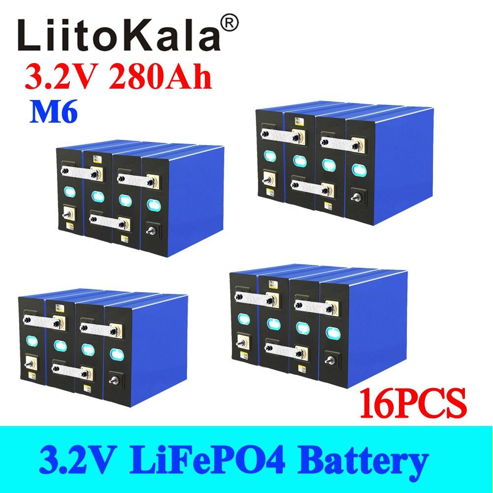 16 قطعة LiitoKala 3.2 فولت 280Ah lifepo4 بطارية 12 فولت 48 فولت 280AH بطارية قابلة للشحن حزمة ل سيارة كهربائية RV الطاقة الشمسية التخزين