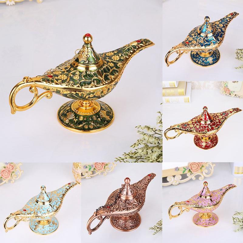 22cm Elegant Vintage Lamp Zinc Alloy Wishing Tea Pot Genie Lamp Vintage Retro Toy for Home Decor Ornaments