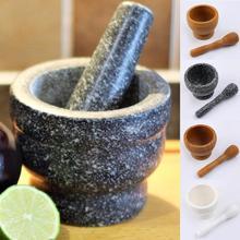Stößel Grinder Holz Weiß Granit Spice Grinder Mörtel Schleifen Schüssel Knoblauch Presse Kraut Pfeffer Mischen Topf Küche Werkzeug
