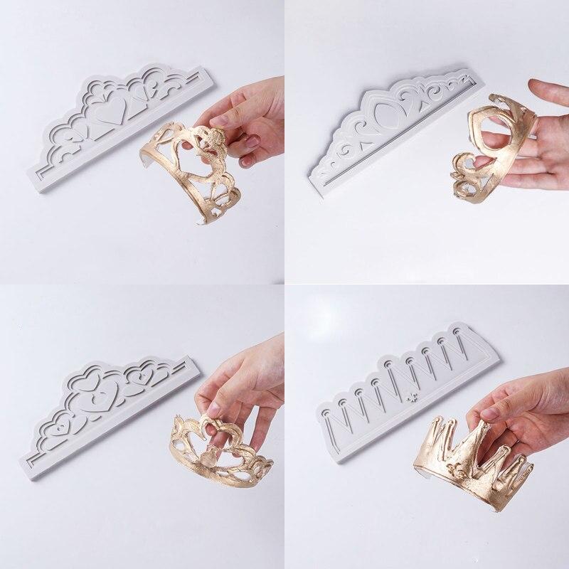 Vários imperial coroa molde molde de silicone fondant bolo ferramenta de decoração gumpaste sugarcraft chocolate formas bakeware