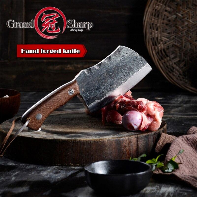 Grandشارب-سكين الشيف المصنوع يدويًا ، سكاكين المطبخ للخضروات ، أداة التخييم ، مقبض ذراع كامل