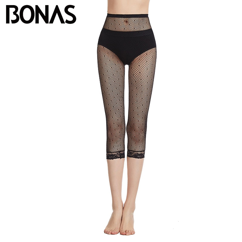 Bonas nova sexy fishnet footless collants feminino alta elasticidade preto rendas footless collants protetor solar respirável senhora