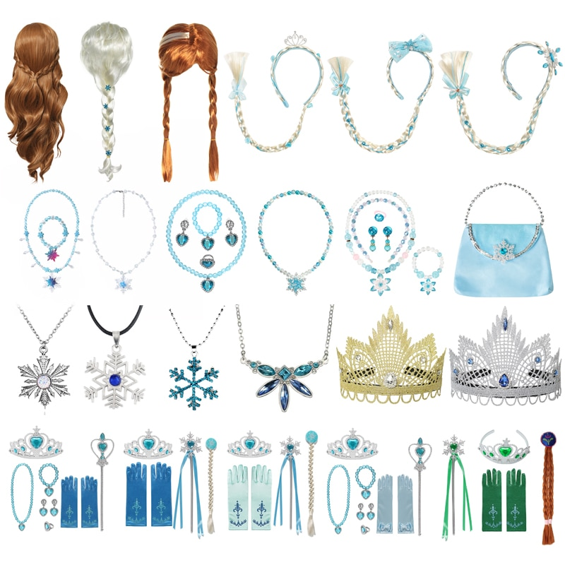 Girls Anna Elsa Accessories Gloves Wand Crown Jewelry Set Elsa Anna Wig Braid for Princess Dress Cos