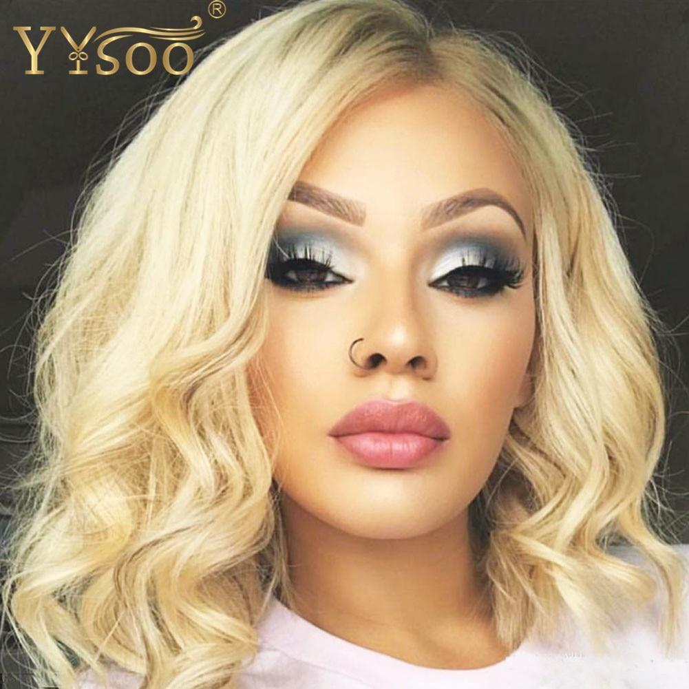 Yisoo13x6 peluca frontal de encaje sintético corto de 613 colores, peluca frontal Rubia de fibra resistente al calor, repuesto de cabello, peluca ondulada en el cuerpo, parte lateral