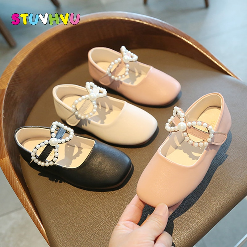Beige Pink Black Leather Children Shoes Spring Autumn Pearl Bowknot Girls Shoes Princess Student Performance Dance Shoe for Kids girls leather shoes children girls baby princess bowknot sneakers pearl diamond single shoes kids dance shoes newest autumn