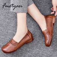 summer loafers women slip on shoes soft leather shoes womens shallow soft sole flat shoes vintage brown leather shoe ladies
