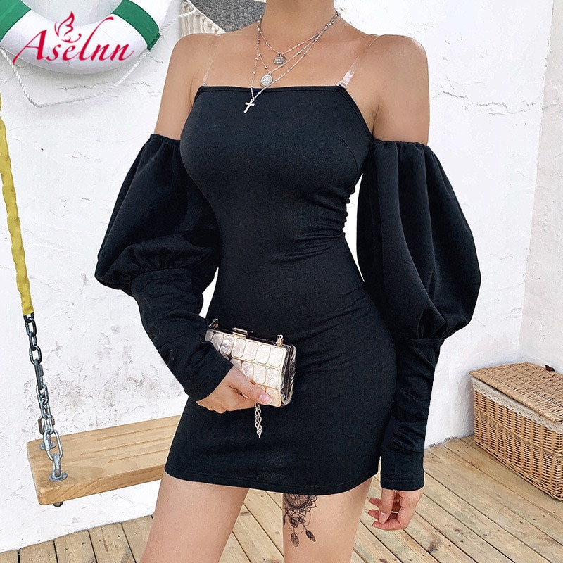 Aselnn 2019 Autumn Spaghetti Strap Lantern Sleeve Black Sexy Dress Women Off Shoulder Mini Dress Ladies Party Streetwear Dresss