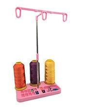 Support de fil à coudre réglable 3 bobines de fil support en plastique multicolore en option (rose) 5BB5059